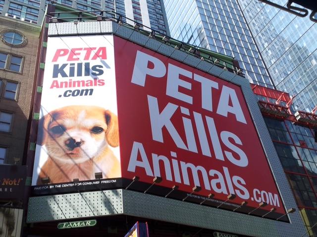 PETA Kills Animals Billboard - New York City, August 2011