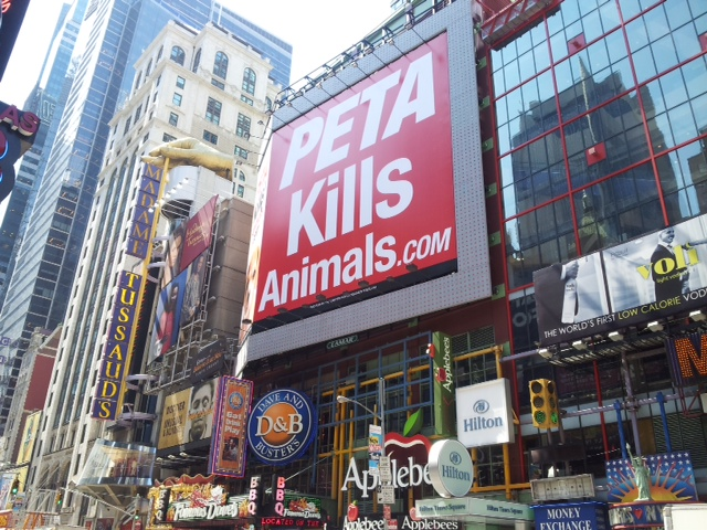 PETA Kills Animals ad in NYC Times Square